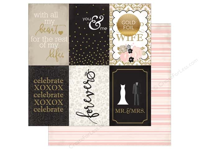 "Echo Park Collection Wedding Bliss Paper 12""x 12"" Journaling Cards 4""x 6"" (25 pieces)"