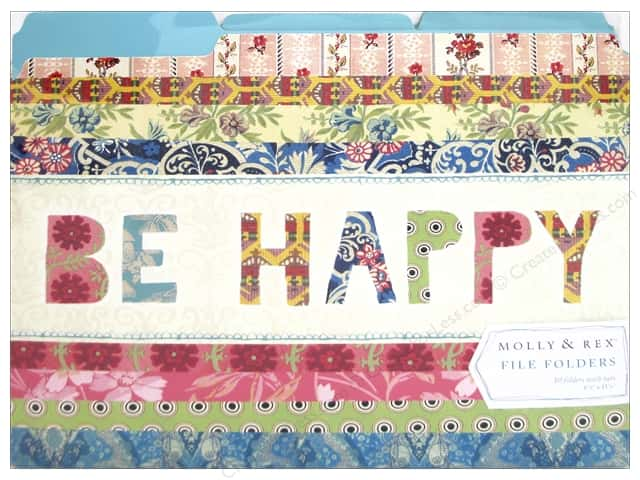 Molly & Rex File Folders 10 pc. Be Happy Patchwork