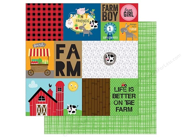 """Bella Blvd Collection Barnyard Paper 12""""x 12"""" Daily Details (25 pieces)"""