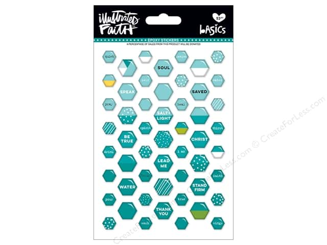 Bella Blvd Collection Illustrated Faith Basics Sticker Epoxy Mix Mini Hexies Oh My Heavens