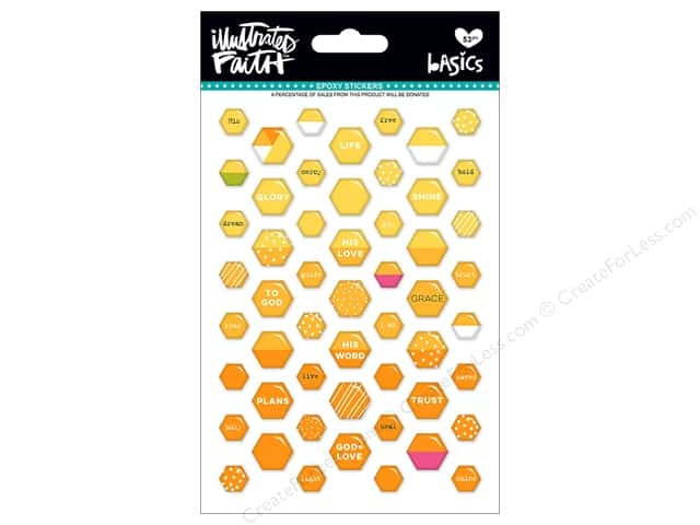 Bella Blvd Collection Illustrated Faith Basics Sticker Epoxy Mix Mini Hexies Bananas For You