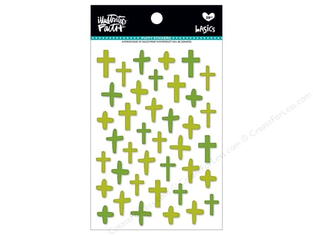 Bella Blvd Collection Illustrated Faith Basics Sticker Puffy Mix Crosses Olive You