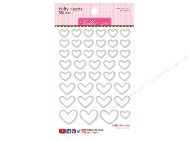 Bella Blvd Sticker Puffy Hearts Milk White