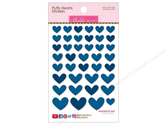 Bella Blvd Sticker Puffy Hearts Blueberry