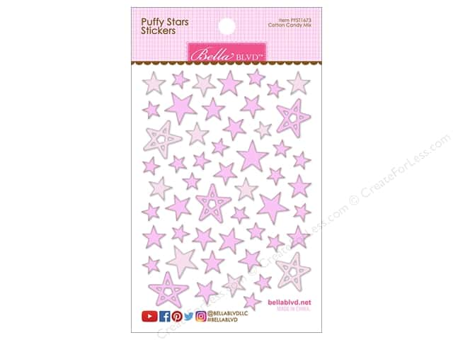 Bella Blvd Sticker Puffy Stars Cotton Candy