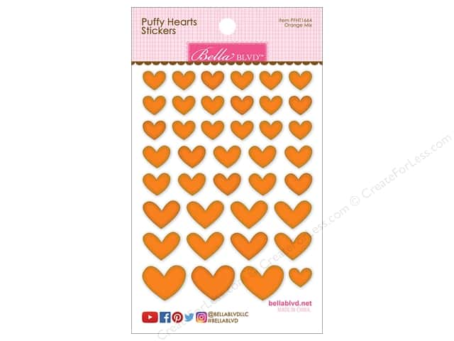 Bella Blvd Sticker Puffy Hearts Orange