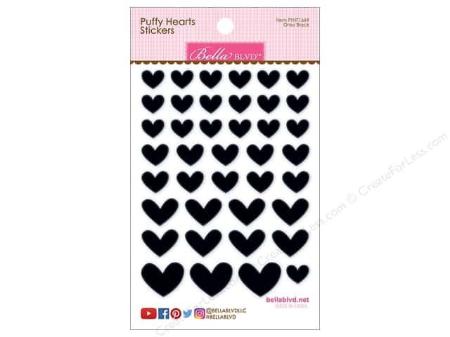 Bella Blvd Sticker Puffy Hearts Oreo Black
