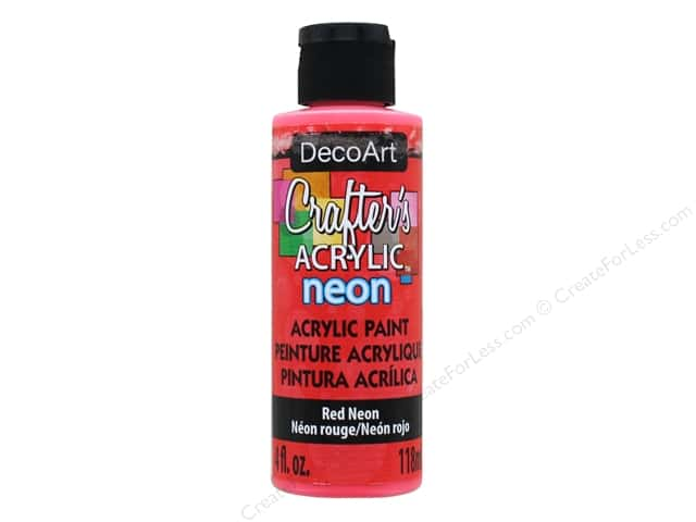 DecoArt Crafter's Acrylic Paint 4 oz. #129 Neon Red