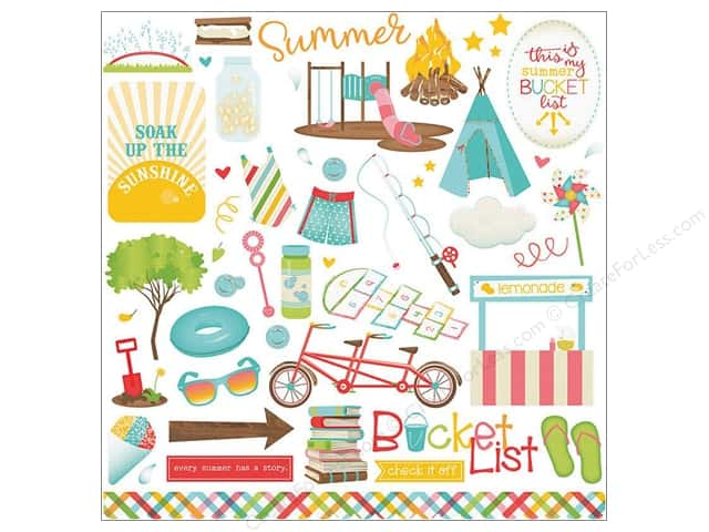 "Photo Play Collection Summer Bucket List Sticker Element 12""x 12"" (12 pieces)"