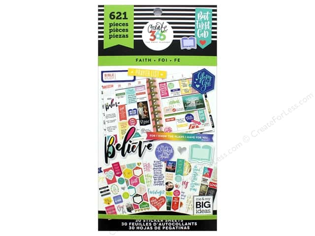 Me&My Big Ideas Collection Create 365 Happy Planner Sticker Value Pack Classic Faith