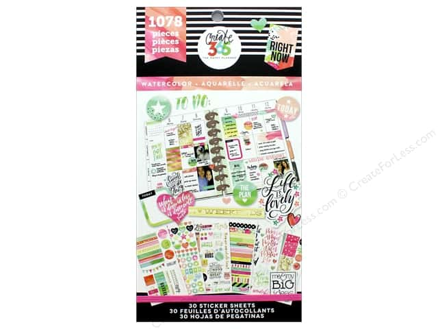 Me&My Big Ideas Collection Create 365 Happy Planner Sticker Value Pack Watercolor