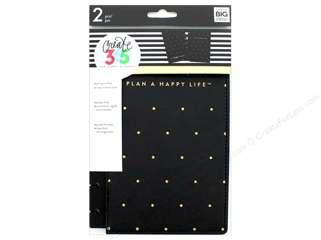 Me & My Big Ideas Create 365 Happy Planner Snap-In Cover - Mini Black & Gold Dot