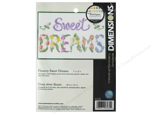 Dimensions Crewel Embroidery Kit 7 in. x 5 in. Flowery Sweet Dreams