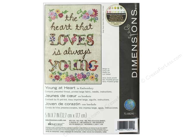 "Dimensions Embroidery Kit 5""x 7"" Young At Heart"