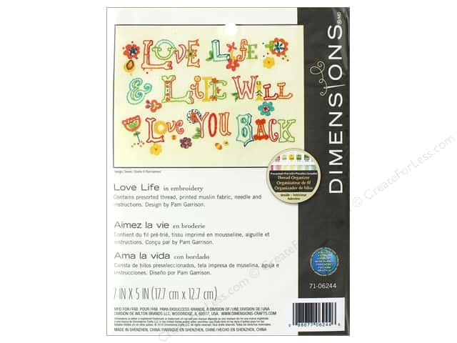 "Dimensions Embroidery Kit 7""x 5"" Love Life"