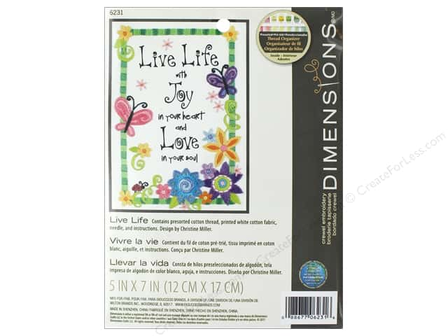 Dimensions Crewel Embroidery Kit 5 in. x 7 in. Live Life