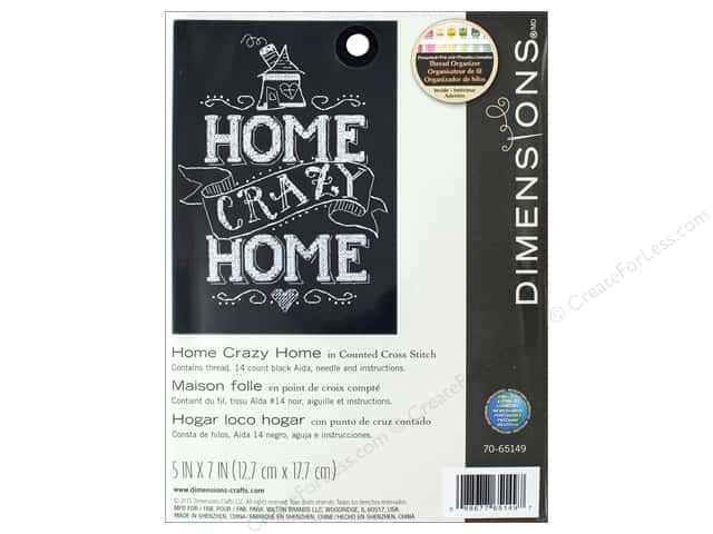 """Dimensions Cross Stitch Kit 5""""x 7"""" Home Crazy Home"""