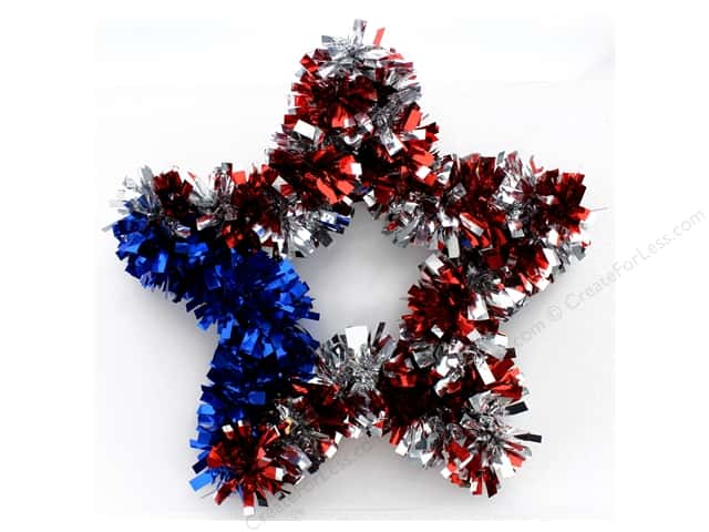 "Darice Wall Tinsel Star 11"" Red/Silver/Blue"