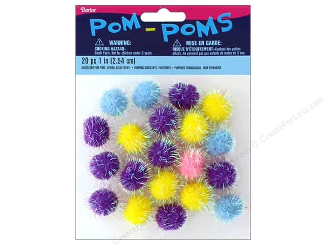 Darice Pom Poms 1 in. Iridescent Spring 20 pc.