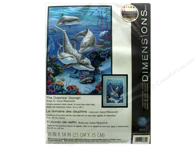 "Dimensions Cross Stitch Kit 10""x 14"" The Dolphins Domain"