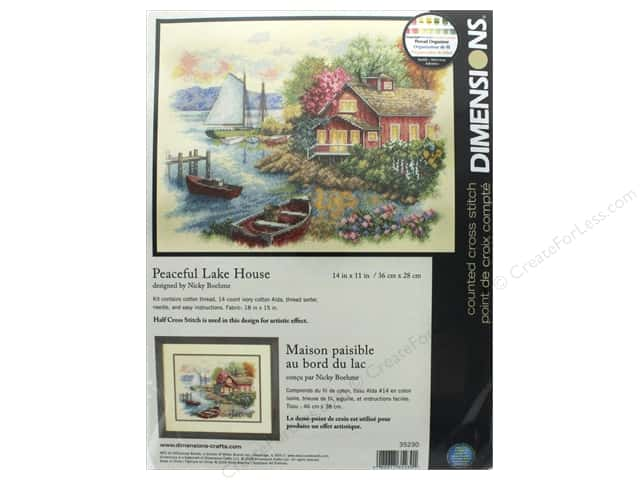 "Dimensions Cross Stitch Kit 14""x 11"" Peaceful Lake House"