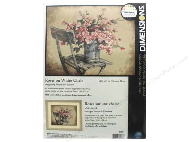 "Dimensions Cross Stitch Kit 14""x 11"" Roses On White Chair"