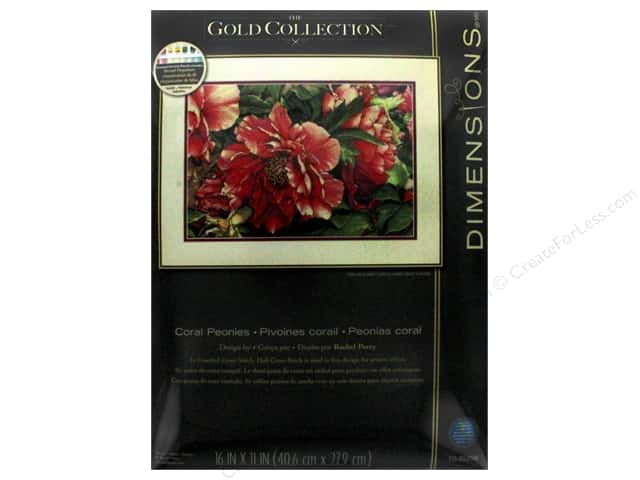 "Dimensions Cross Stitch Kit Gold Collection 16""x 11"" Coral Peonies"