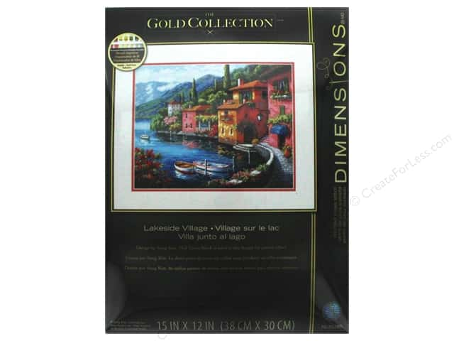 "Dimensions Cross Stitch Kit Gold Collection 15""x 12"" Lakeside Village"