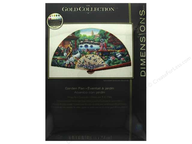 "Dimensions Cross Stitch Kit Gold Collection 16""x 10"" Garden Fan"