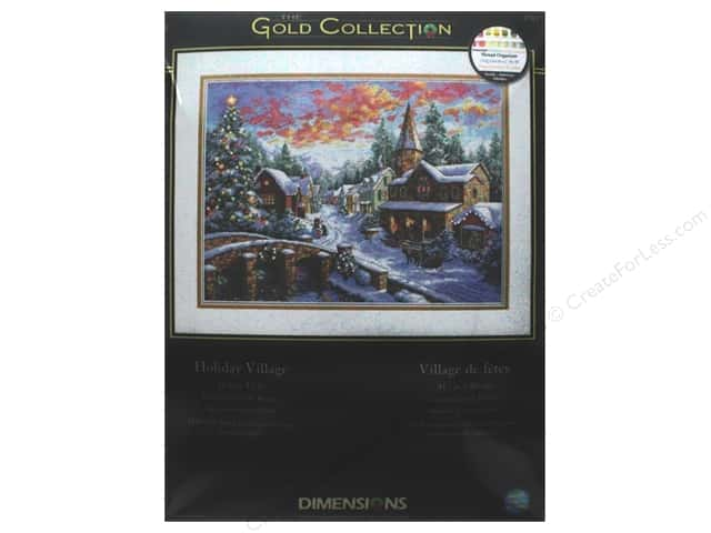 "Dimensions Cross Stitch Kit Gold Collection 16""x 12"" Holiday Village"