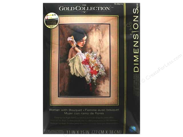 "Dimensions Cross Stitch Kit Gold Collection 11""x 15"" Woman With Bouquet"
