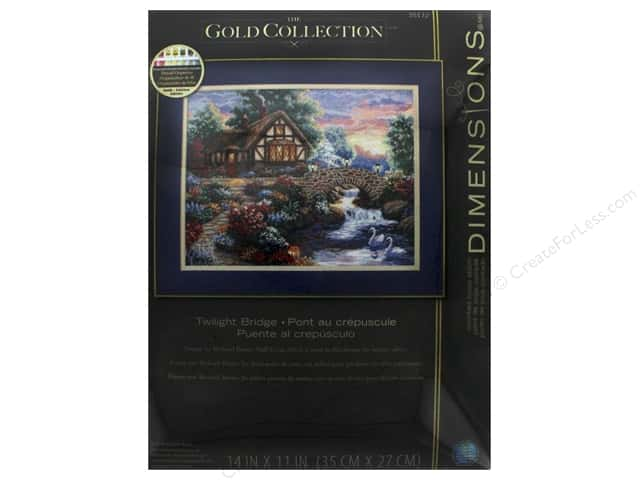 "Dimensions Cross Stitch Kit Gold Collection 14""x 11"" Twilight Bridge"