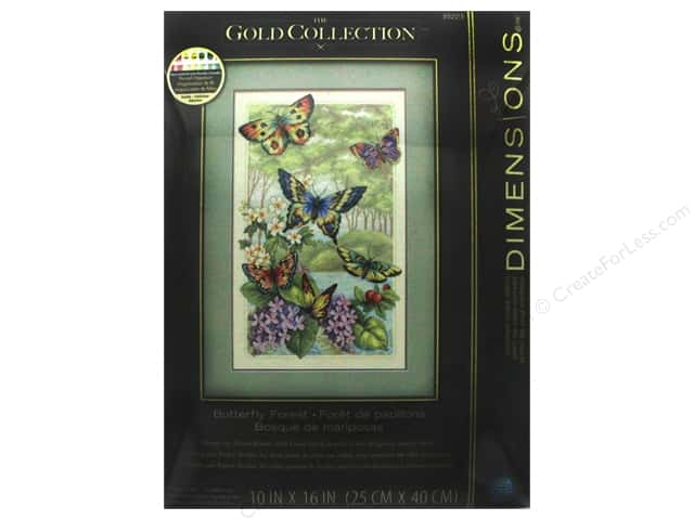 "Dimensions Cross Stitch Kit Gold Collection 10""x 16"" Butterfly Forest"