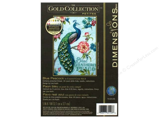"Dimensions Cross Stitch Kit 5""x 7"" Blue Peacock"