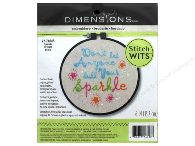 "Dimensions Embroidery Kit Stitch Wits 6""x 6"" Sparkle"