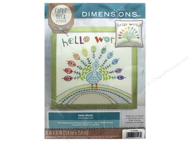 "Dimensions Embroidery Kit 10""x 10"" Cathy Heck Hello World"