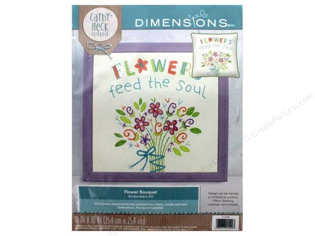 "Dimensions Embroidery Kit 10""x 10"" Cathy Heck Flower Bouquet"