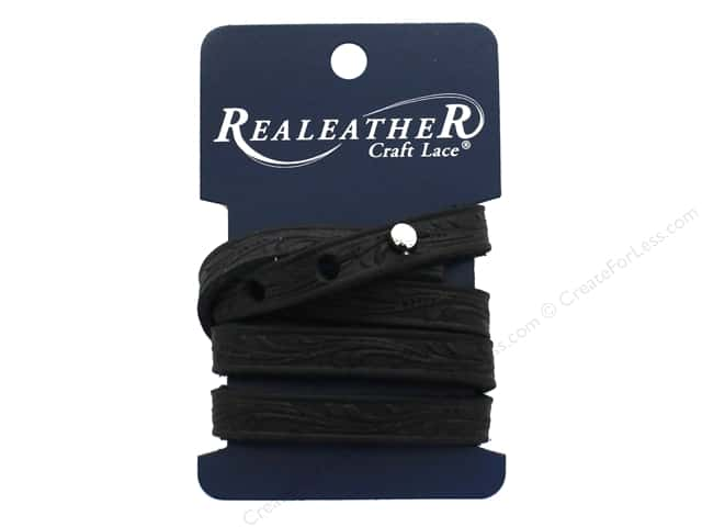 REALEATHER by Silver Creek Leather Wrap Bracelet Floral Tooling Black