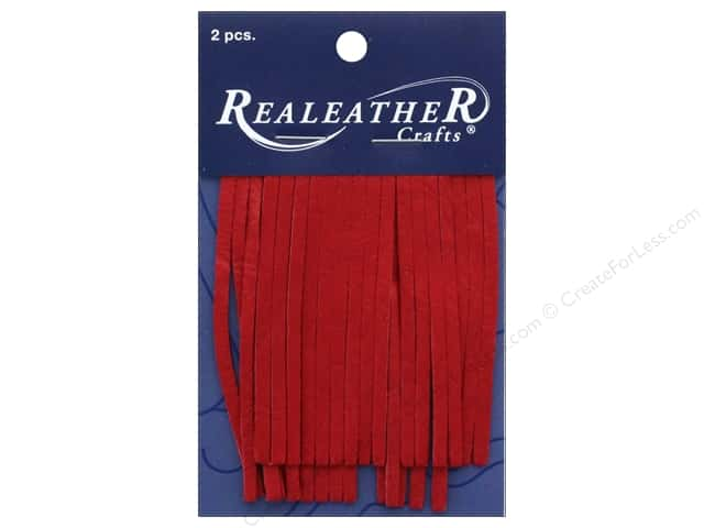 REALEATHER by Silver Creek Leather Deerskin Fringe 2 in. x 3 in. 2 pc Red