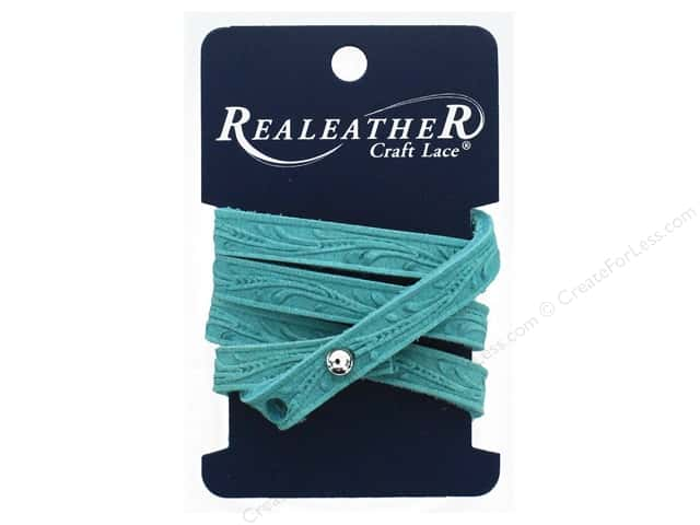 REALEATHER by Silver Creek Leather Wrap Bracelet Floral Tooling Turquoise