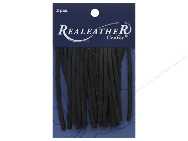 REALEATHER by Silver Creek Leather Deerskin Fringe 2 in. x 3 in. 2 pc  Black