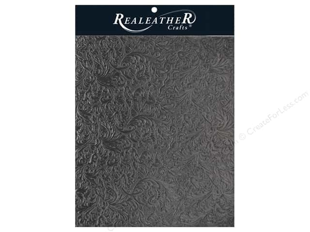 REALEATHER by Silver Creek Leather Trim 8.5  in. x 11 in.  Acanthus Black