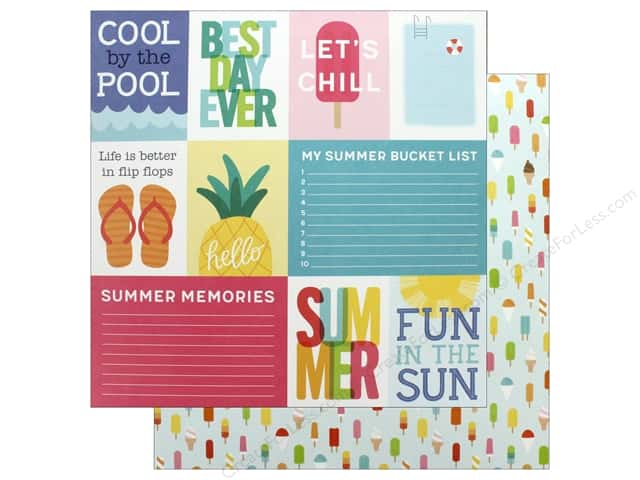 "Pebbles Collection Sunshiny Days Paper 12""x 12"" Hello Summer Quotes (25 pieces)"