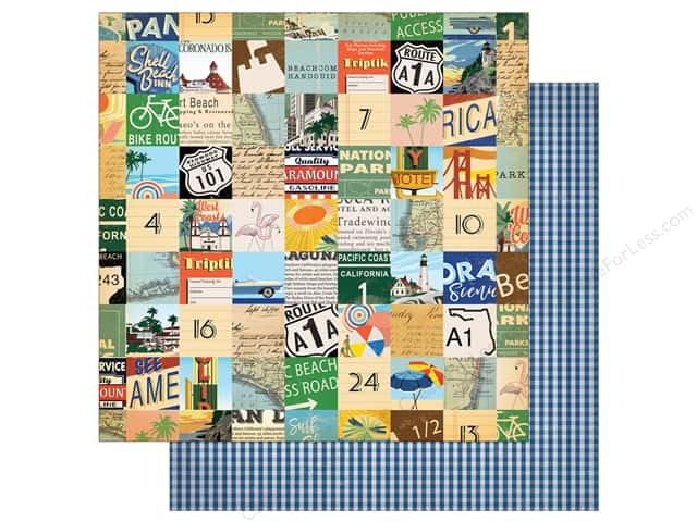 "Carta Bella Collection Are We There Yet Paper 12""x 12"" Beach Route (25 pieces)"