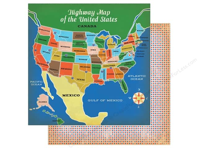 "Carta Bella Collection Are We There Yet Paper 12""x 12"" Highway Travel (25 pieces)"