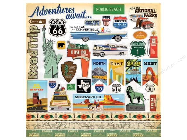 Carta Bella Collection Are We There Yet Sticker 12 in. x 12 in. Elements (15 pieces)
