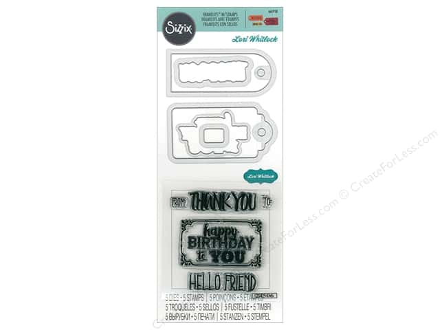 Sizzix Die & Stamp Lori Whitlock Framelits Tag Sentiment 2