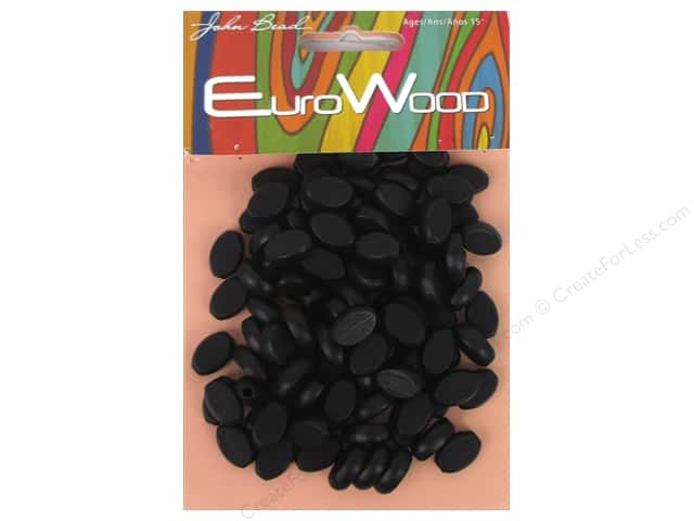 John Bead Wood Bead Flat Oval 8 x 12 mm Black