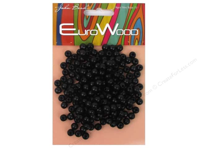 John Bead Wood Bead Round 6 mm Black