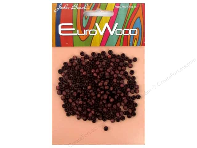 John Bead Wood Bead Round 4mm Mahogany